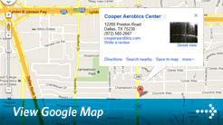 Google Map of Cooper Aerobics in Dallas
